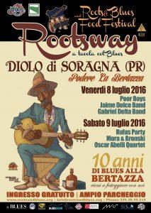 Manifesto Rootsway Blues Festival grafica Antonio Boschi