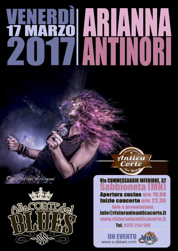 Arianna Antinori live Antica Corte di Sabbioneta, grafica Antonio Boschi WIT Grafica e Comunicazione per A-Z Blues
