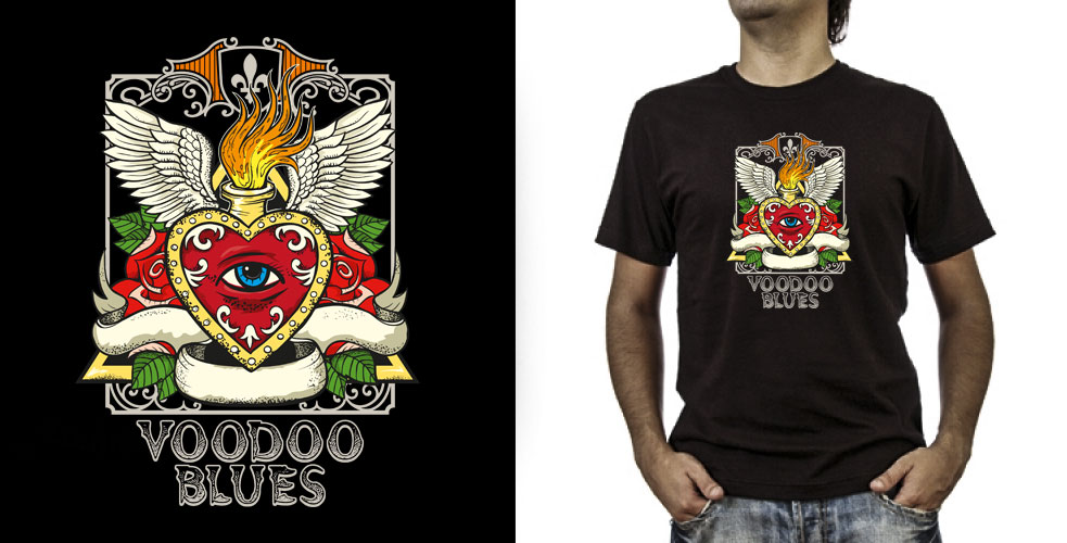 T-shirt._Voodoo Blues (grafica Antonio Boschi, WIT Grafica & Comunicazione)